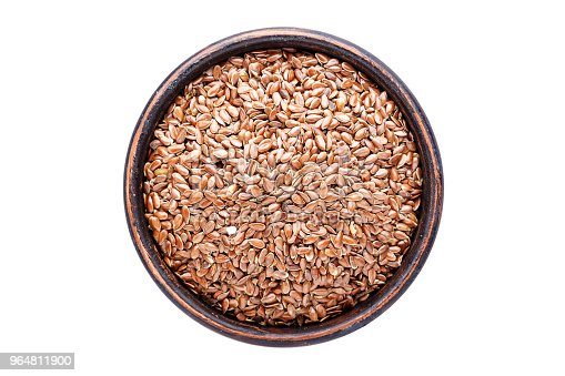 Flax Seeds In A Plate Isolated On White Background Top View Stock Photo & More Pictures of Acid