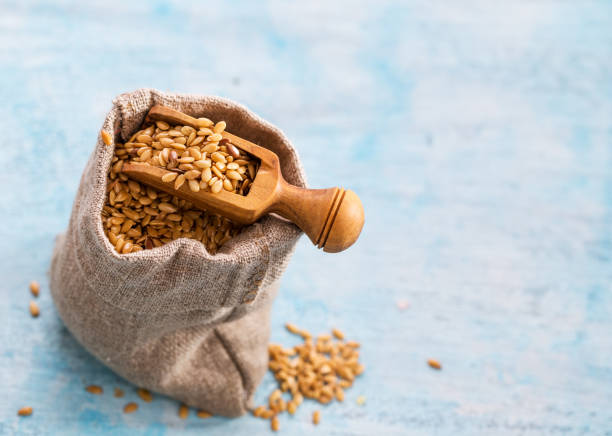 Cтоковое фото Flax seeds in bag and scoop