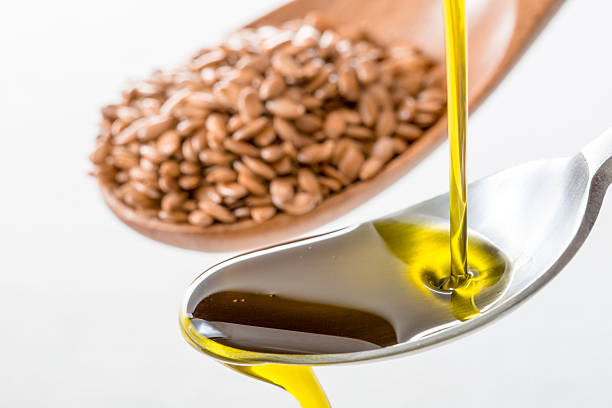 Flaxseed oil stock photo