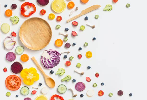 schinden sie laien gesund essen vegan essen stilleben. - gemüsefond stock-fotos und bilder