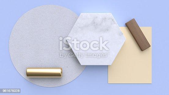 istock flay lay paper background blue-purple-blue minimal geometric shape 3d rendering 961676028
