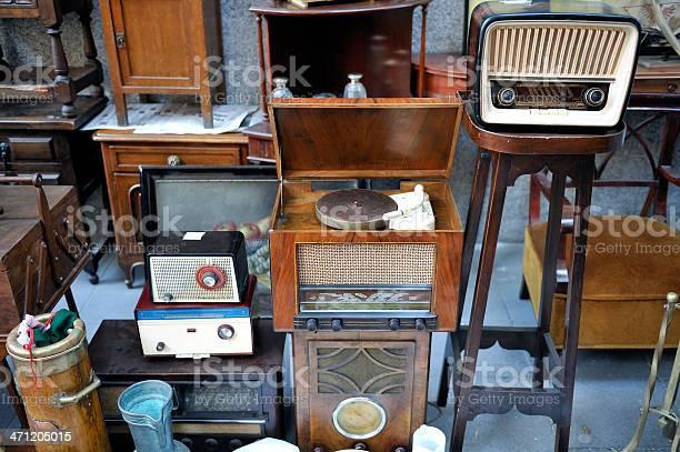 Flea Market And Radio Equipment Stock Photo - Download Image Now