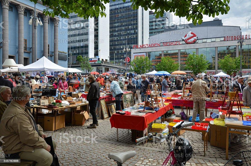 Flea market at Hotorget in Stockholm, Sweden stock photo