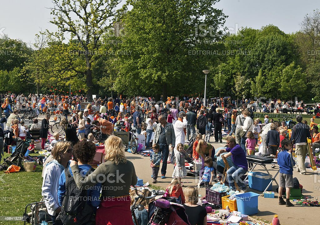 Flea market for children in the Vondelpark during Queen's Day stock photo