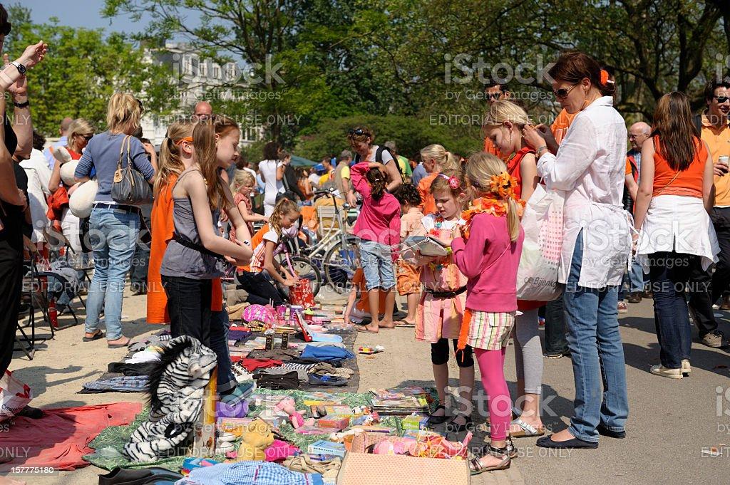 Flea market for children in the Vondelpark on Queen's day stock photo
