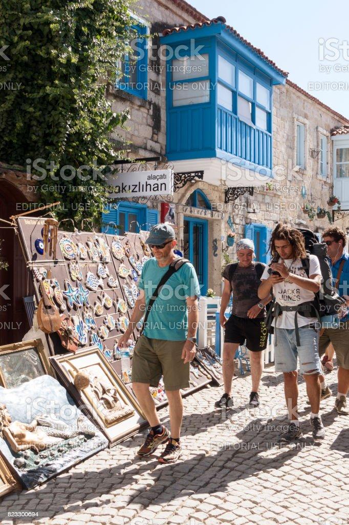 Flea market in Alacati Province of Cesme. stock photo