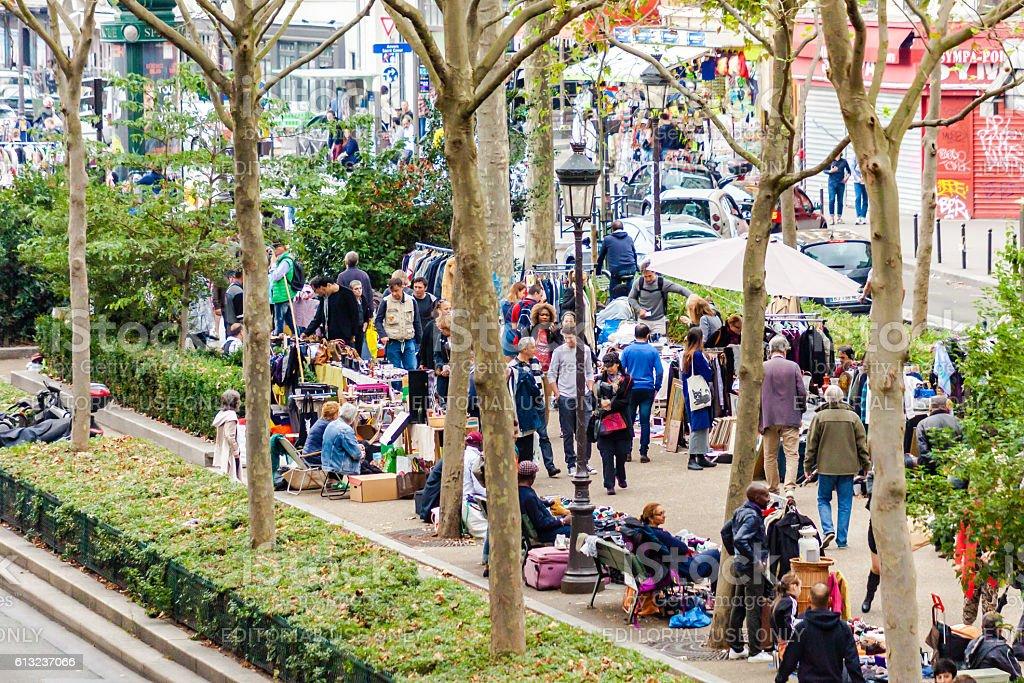 Flea market in Paris stock photo