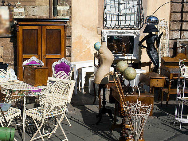 Flea market in Tuscany - Lucca stock photo