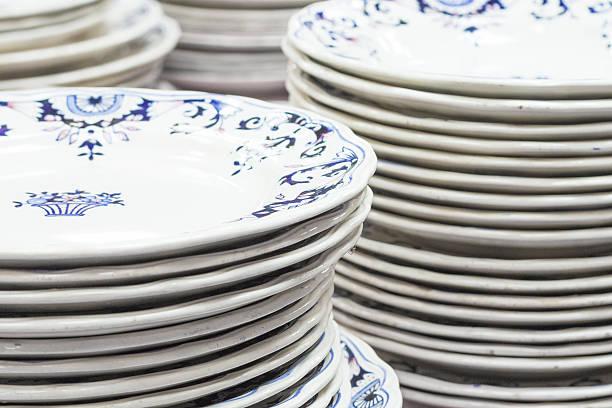 Flea market . old plates stock photo