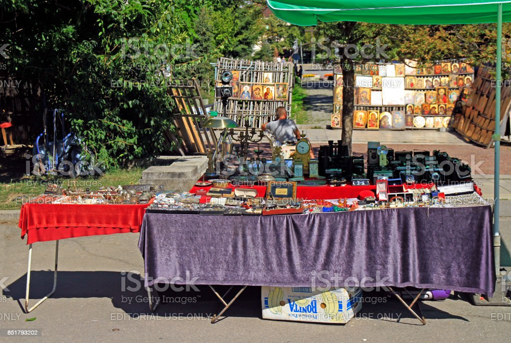 flea market on square at the cathedral in Sofia stock photo