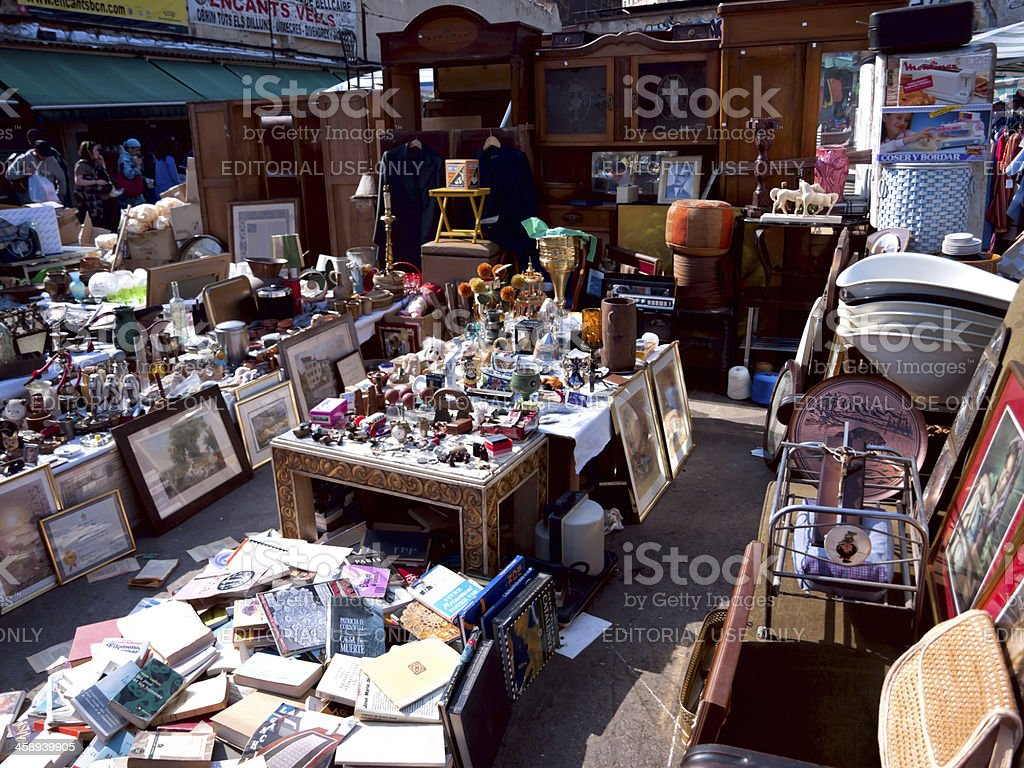flea market on the glories in barcelona stock photo