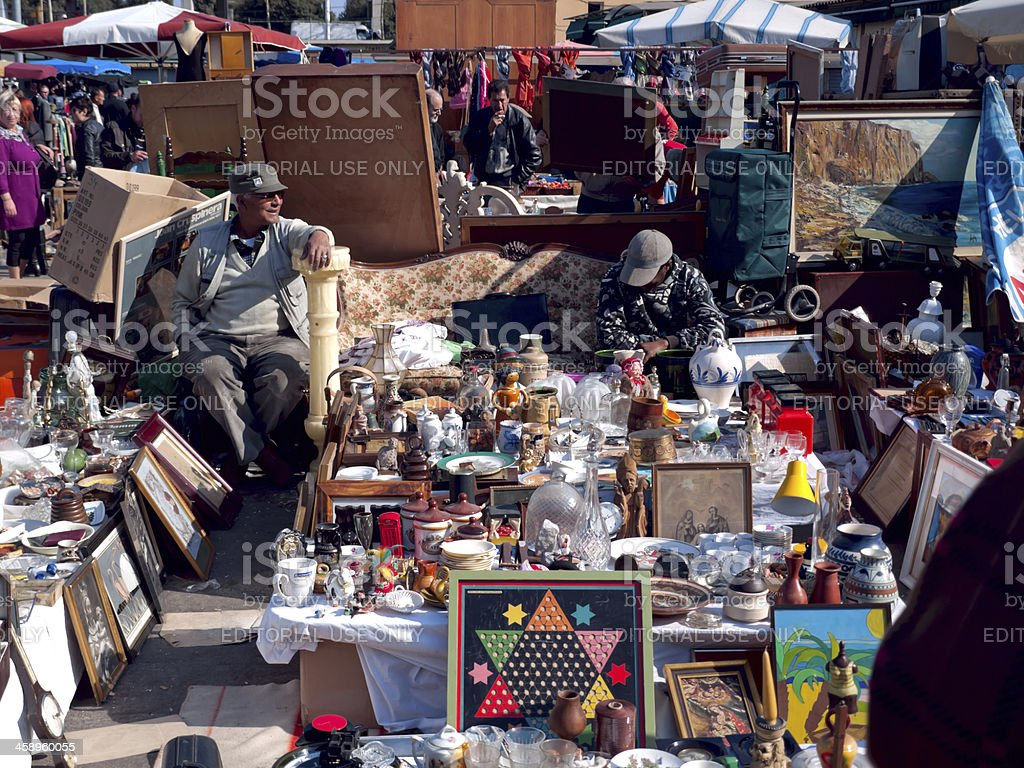 flea market on the glories in barcelona royalty-free stock photo