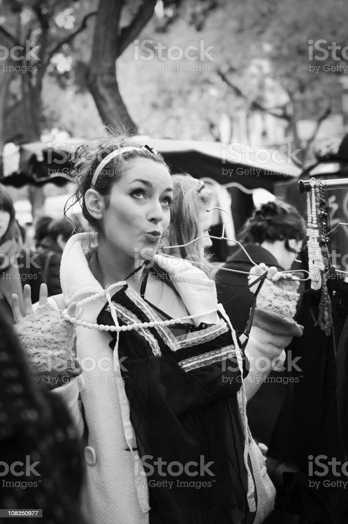 Flea market on the sidewalk in Paris. royalty-free stock photo