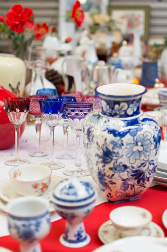 blue vase and wineglasses