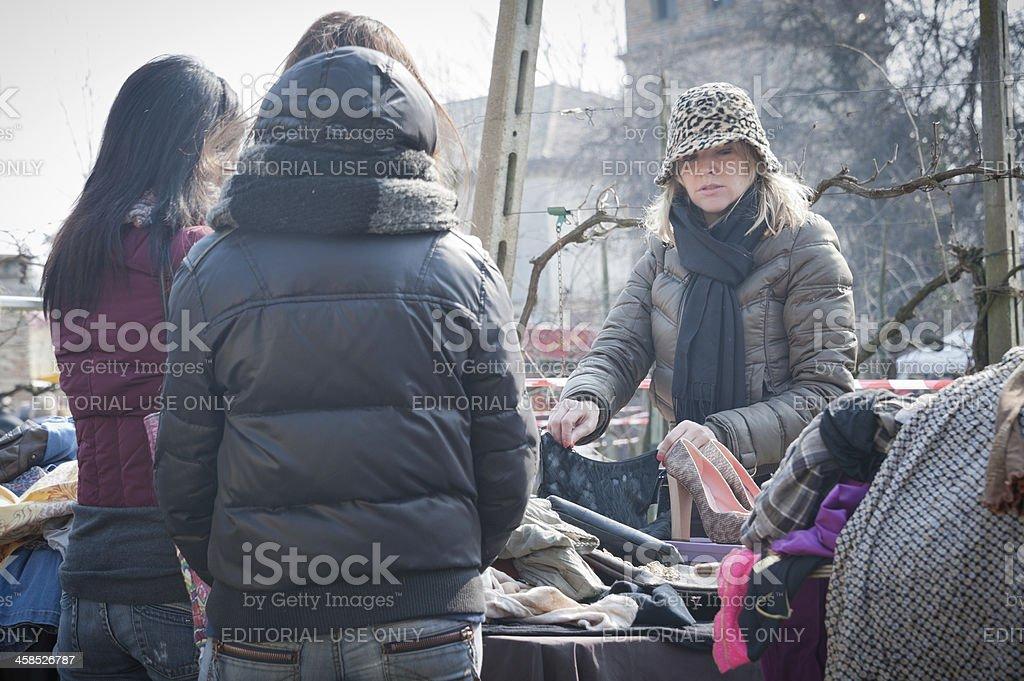 Flea market stall stock photo