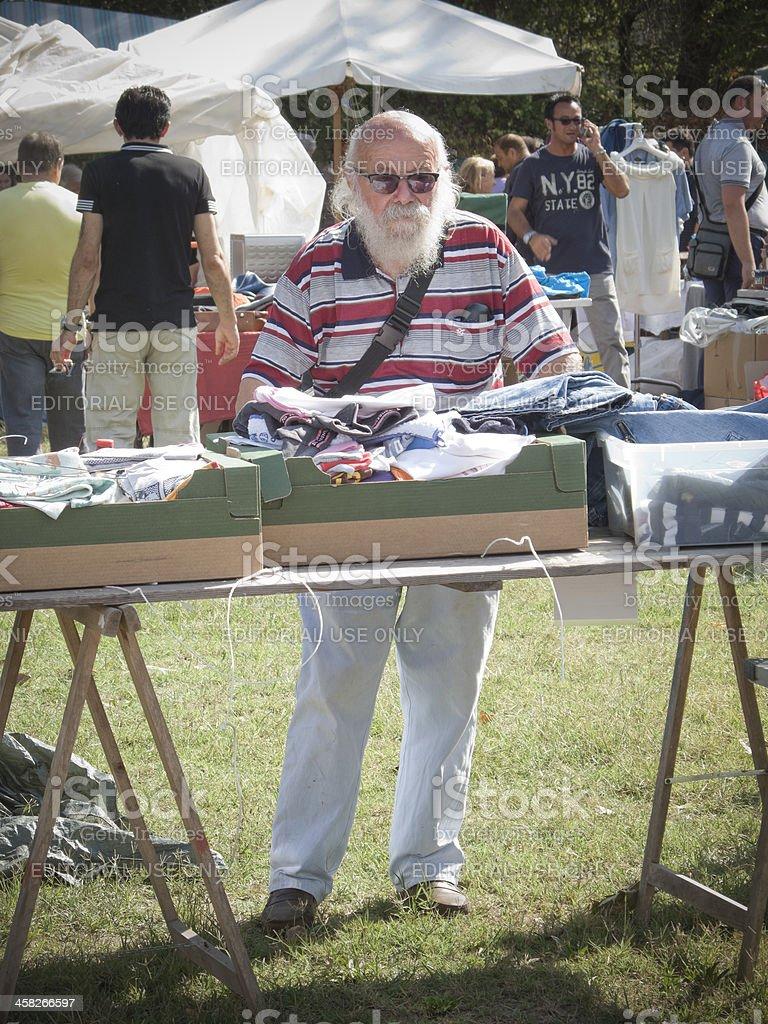Flea market vendor stock photo