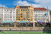 Vienna, Austria - April 7, 2018: Every Saturday is a flea market at Naschmarkt areain Vienna. Local people and lots of tourists visit the market and looking for bargains and antique stuff.Vienna, Austria - April 7, 2018: Every Saturday is a flea market at Naschmarkt areain Vienna. Local people and lots of tourists visit the market and looking for bargains and antique stuff.