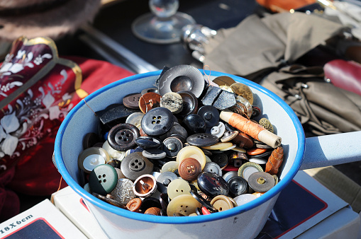Flea Market with antique bowl of buttons  Flohmarkt in Havelberg