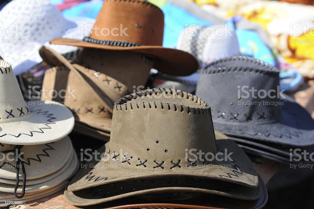 Flea Market with  cowboy hats - Flohmarkt in Havelberg royalty-free stock photo