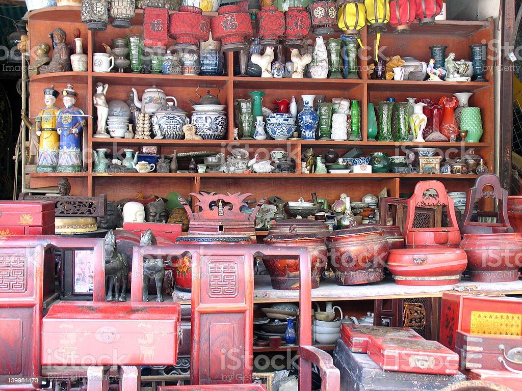 Flea market with knickknacks in Shanghai, China stock photo