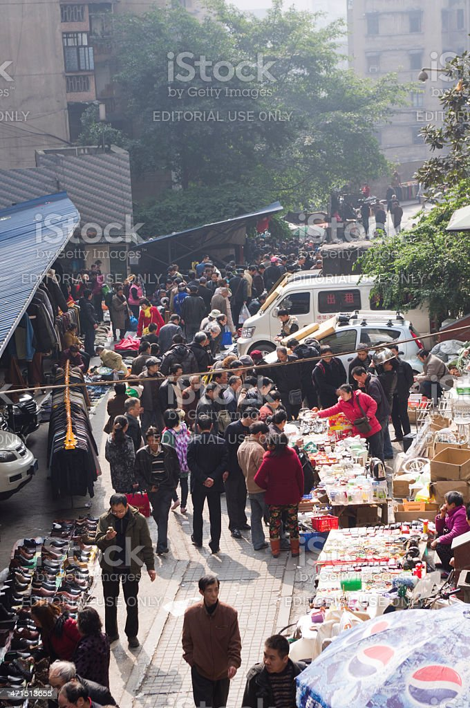 flea markets in china. stock photo