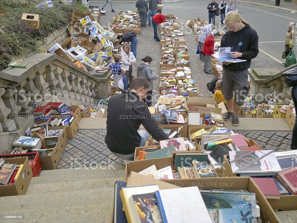 fleamarket of books stock photo