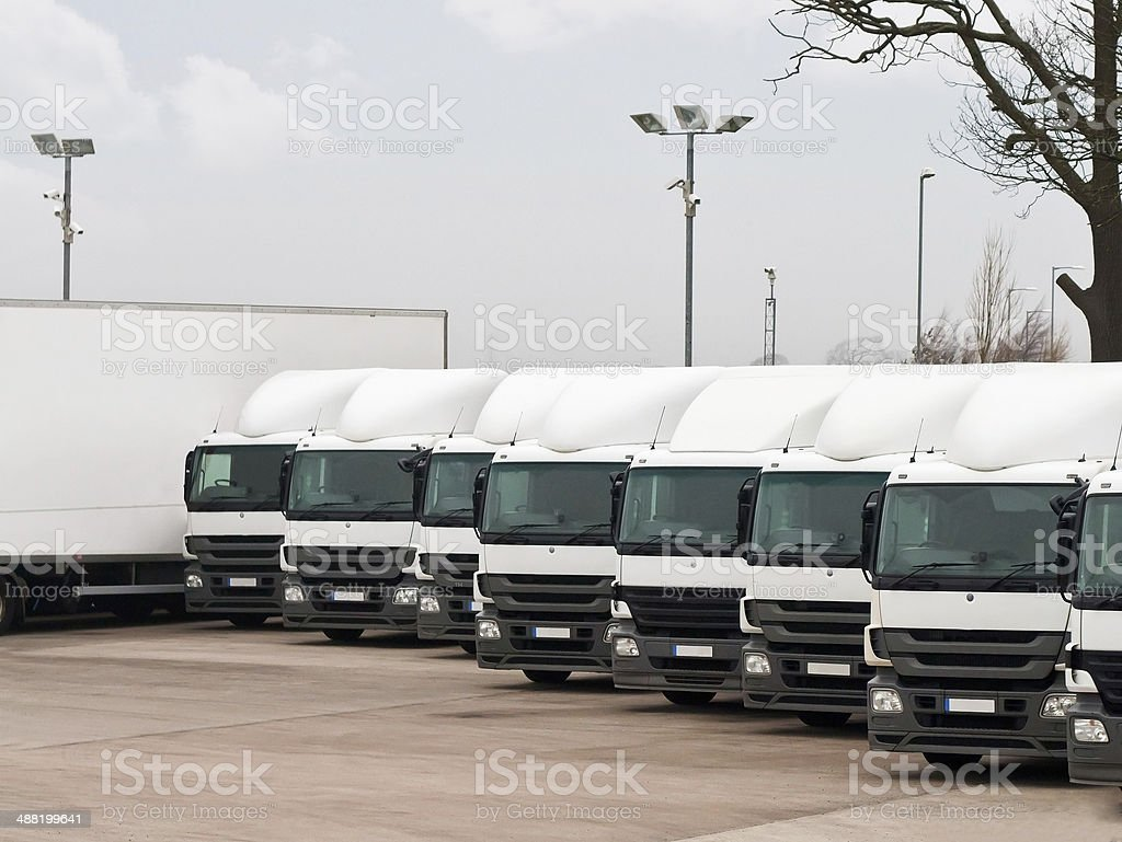 Fleet lorries stock photo