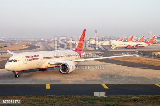 Air India 787 Dreamliner departs as other fleet of Boeing 777, 747 is seen in the back