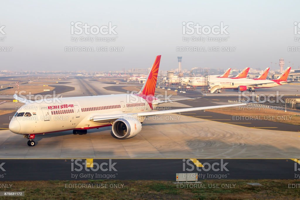 Fleet of Air India aircrafts at Mumbai Airport stock photo