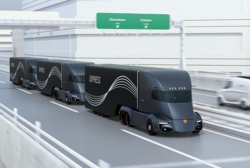 Eine Flotte Von Schwarz Selbst Elektrische Halb Lkw Fahren Auf Der Autobahn Zu Fahren Stockfoto und mehr Bilder von Allgemein