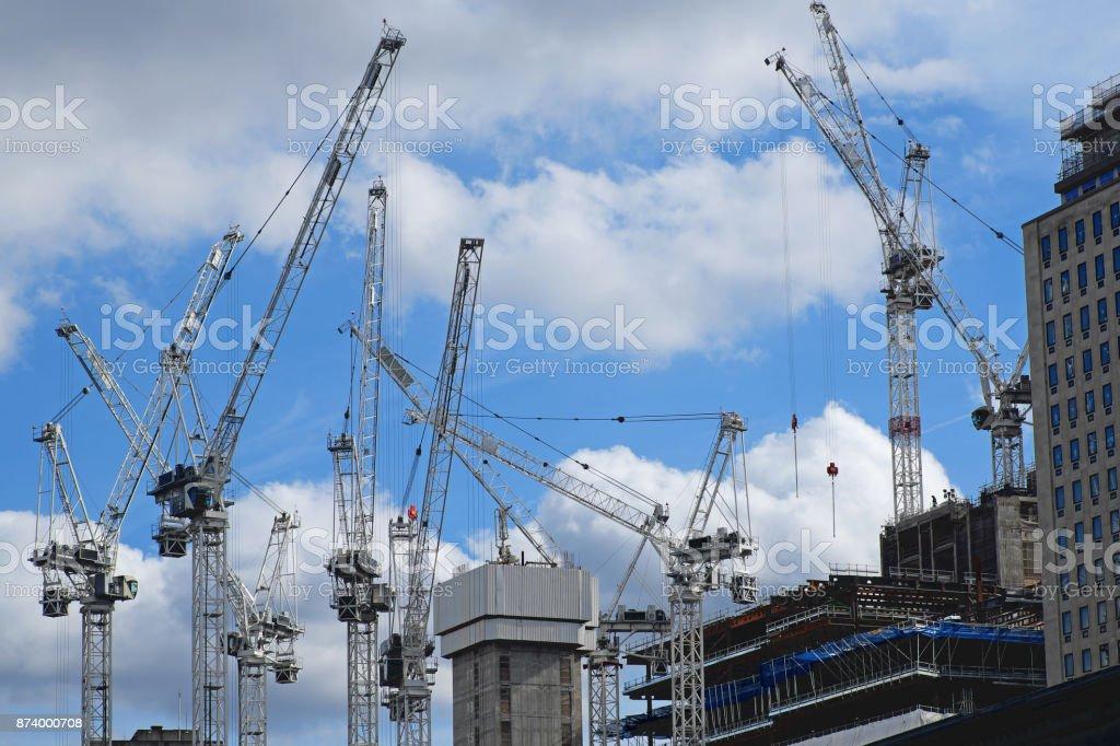 Fleet of cranes on a UK construction site stock photo