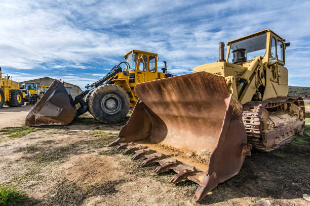 Fleet of excavator machines for rent or sale Heavy machinery for construction construction machinery stock pictures, royalty-free photos & images
