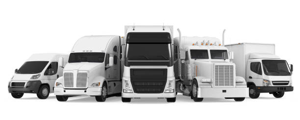 Fleet of Freight Transportation Fleet of Freight Transportation isolated on white background. 3D render commercial land vehicle stock pictures, royalty-free photos & images