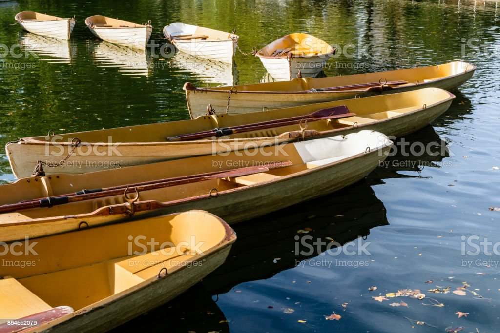 A fleet of rental rowboats bound to one another at the end of the day on the Lower Lake in the Bois de Boulogne in Paris. stock photo