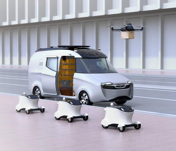 flotta av självkörande leverans robotar, van och drone vid sidan av vägen - delivery robot bildbanksfoton och bilder
