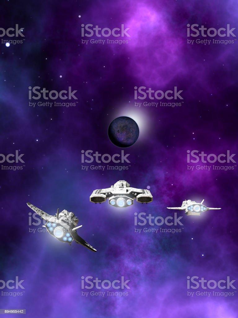 Fleet of Spaceships Approaching a Planetary Nebula stock photo