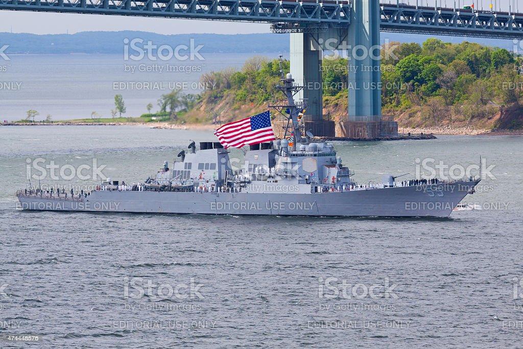 NYC Fleet Week 2015, USS Stout (DDG 55) destroyer. stock photo