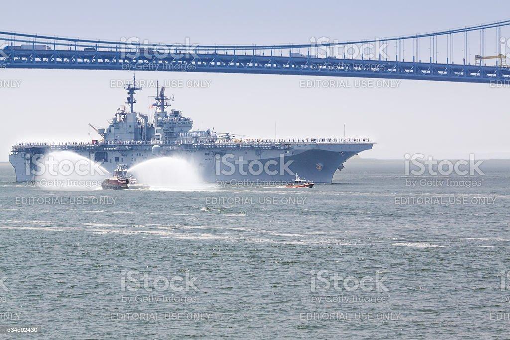NYC Fleet Week 2016, amphibious ship USS Bataan (LHD 5). stock photo