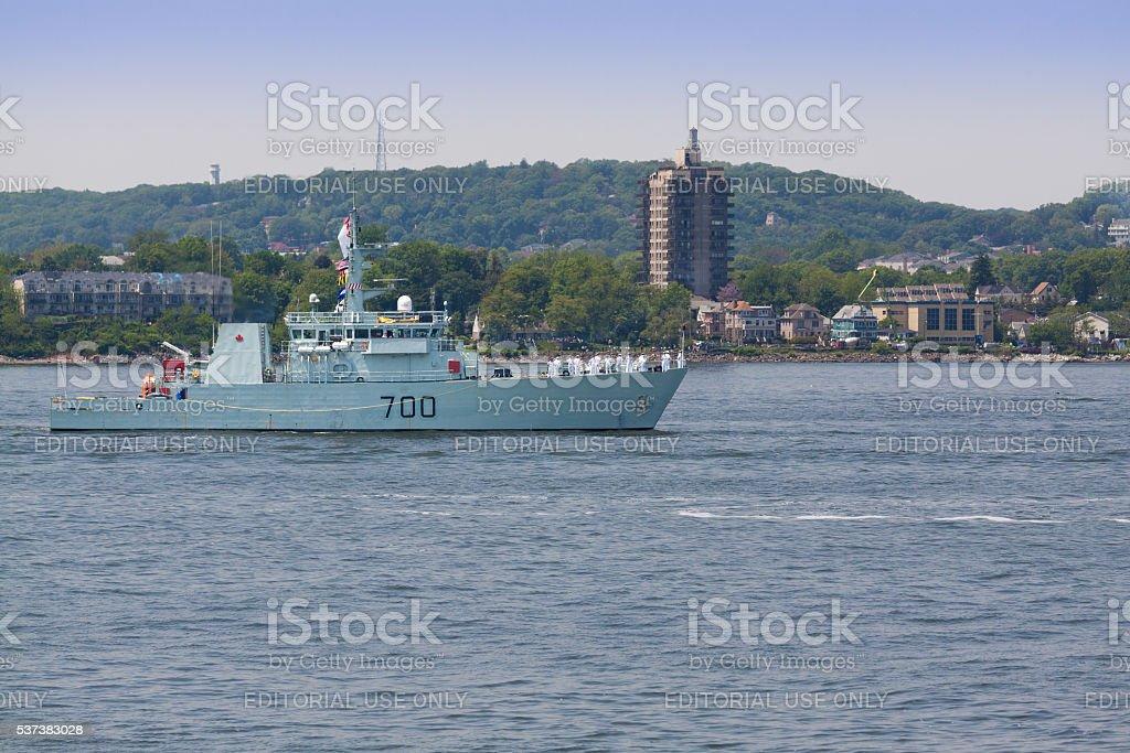 NYC Fleet Week 2016, Canadian defence vessel HMCS Kingston(MM 700). stock photo