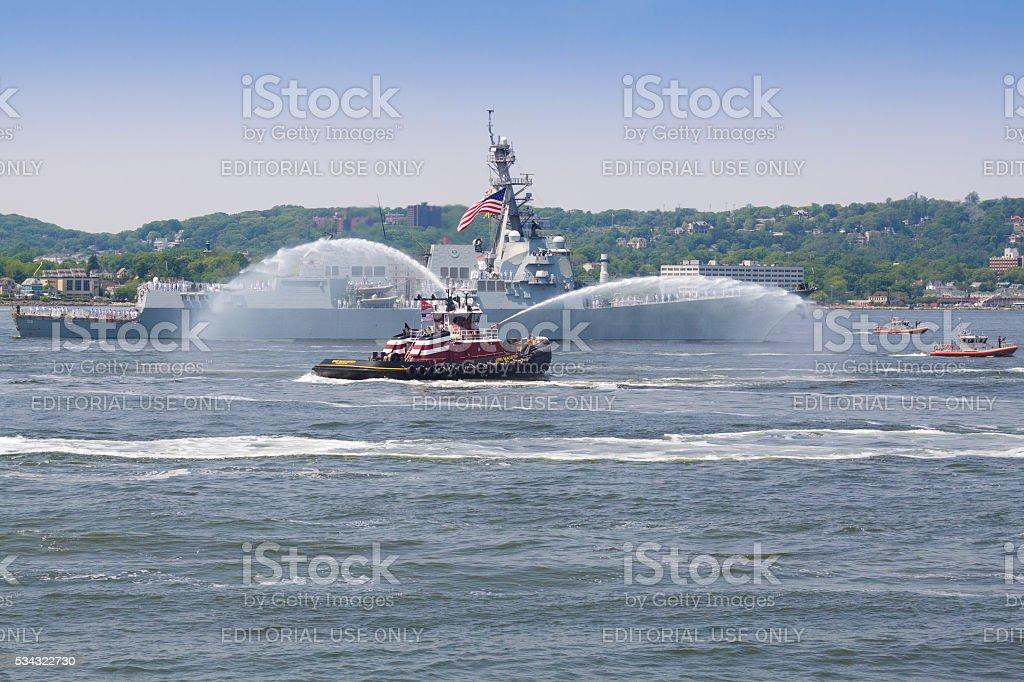 NYC Fleet Week 2016, destroyer USS Bainbridge (DDG 96). stock photo