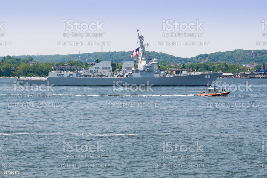 NYC Fleet Week 2016, destroyer USS Farragut (DDG 99). stock photo