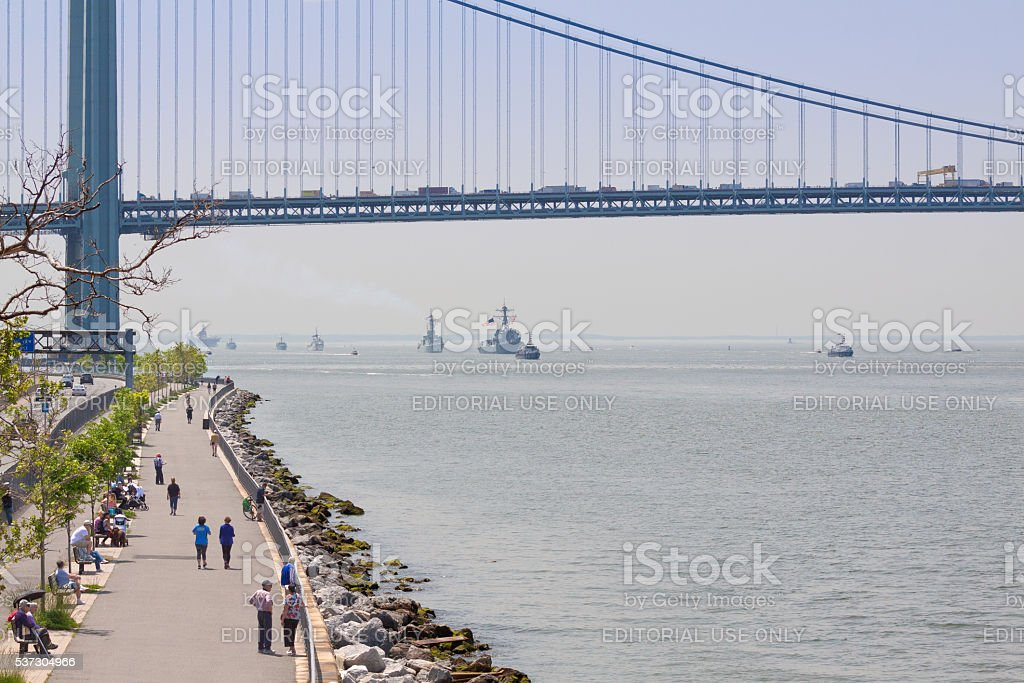 NYC Fleet Week 2016, Warships Entering New York Harbor. stock photo