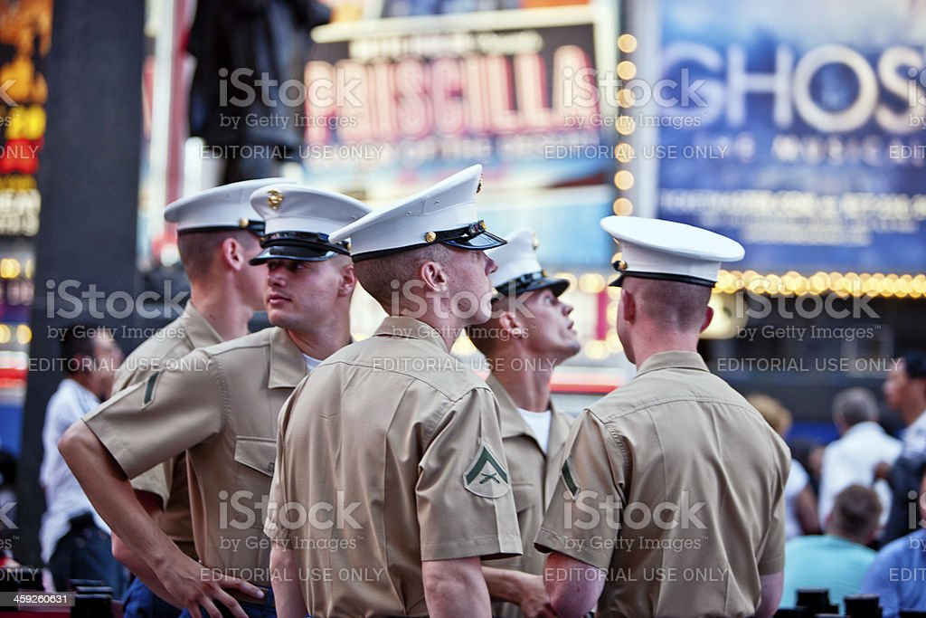 Fleet Week In New York, US Marines on Times Square stock photo