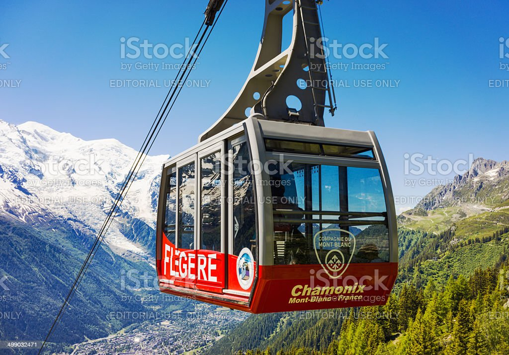 Flegere cable car at Chamonix stock photo