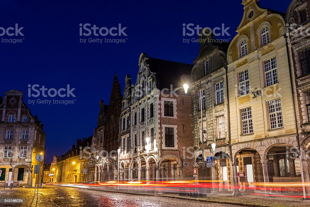Flemish-Baroque-style townhouses in Arras in France stock photo