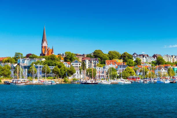 Flensburg cityscape at summer day. Skyline of the old european town. Panoramic view of the small german city stock photo