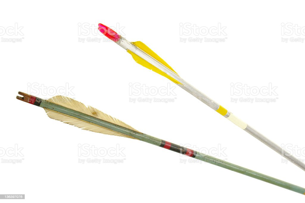 Fletching End Of Two Old Arrows stock photo