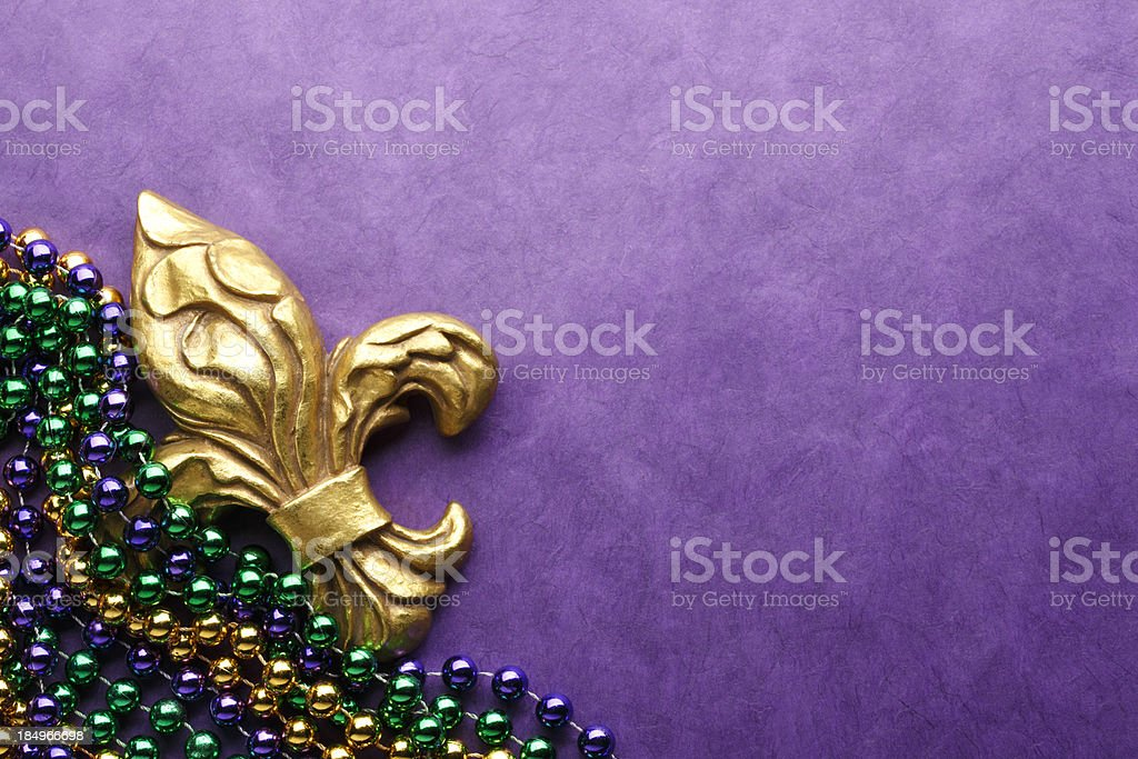 Fleur De Lys & Mardi Gras Beads stock photo