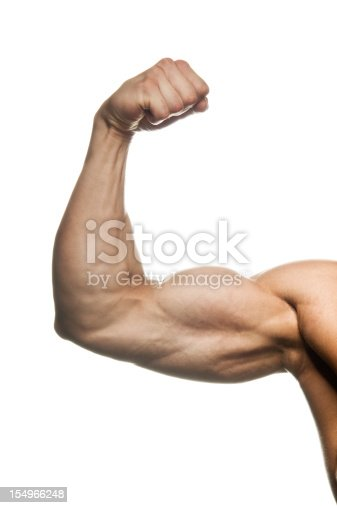 Body builder flexing his biceps (internal side) on white background. Detail of hand only, no face and body.