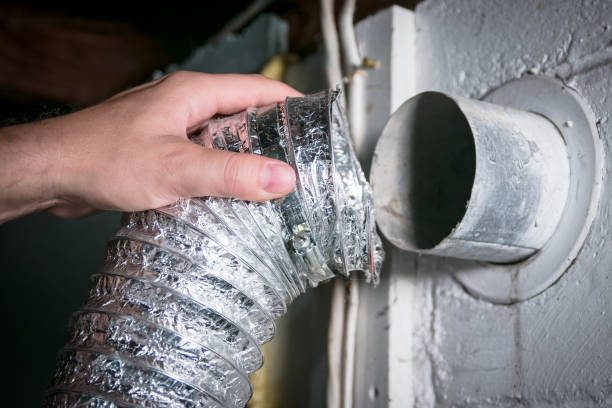 Flexible aluminum dryer vent hose, removed for cleaning/repair/maintenance stock photo